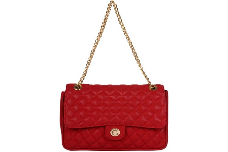 Red Synthetic Leather Sling Bag