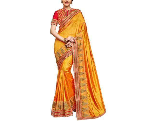Saree Mall Yellow Silk Saree