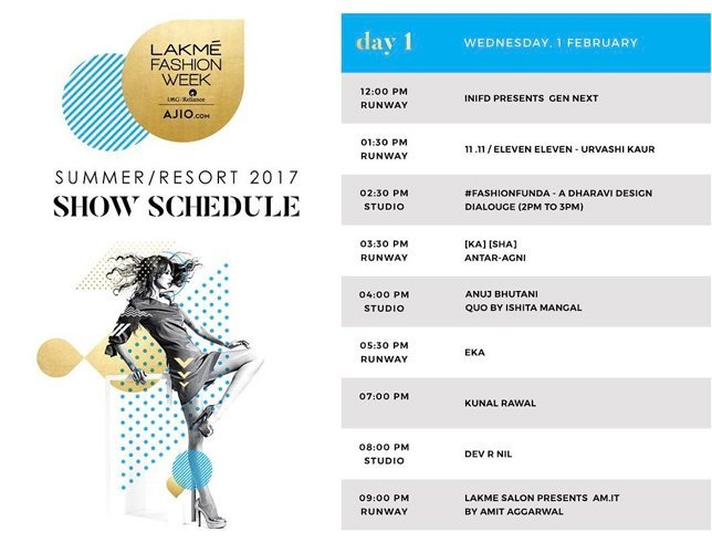 Schedule and Designer Line-Up Day 1