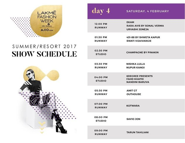 Schedule and Designer Line-Up Day 4