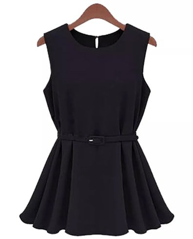 Sleeveless Black Flared Top With Belt