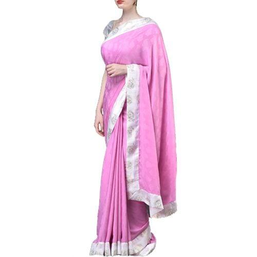 Solid Pink Jacquard Weave Art Silk Saree