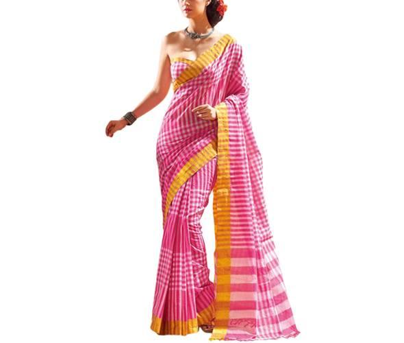 Vibhusha Saree Pink Cotton Silk Saree