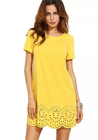 Yellow Short Sleeved Shift Dress