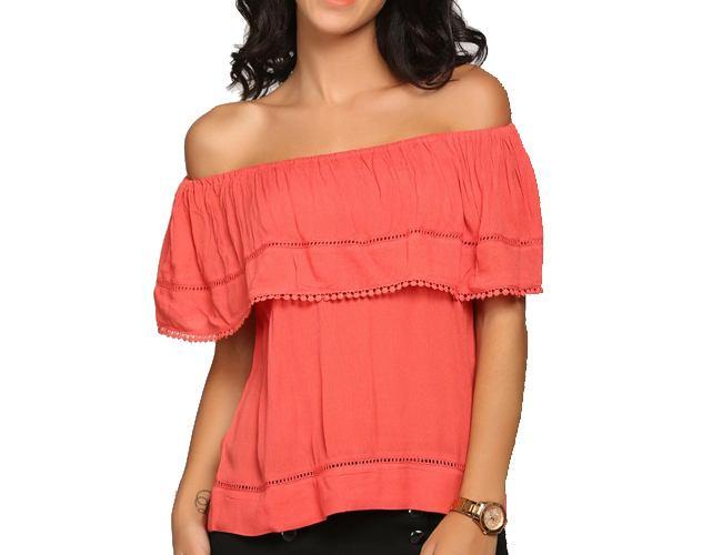 abof Women Coral Red Regular Fit Off-shoulder Top
