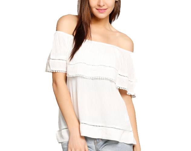abof Women White Regular Fit Off-shoulder Top