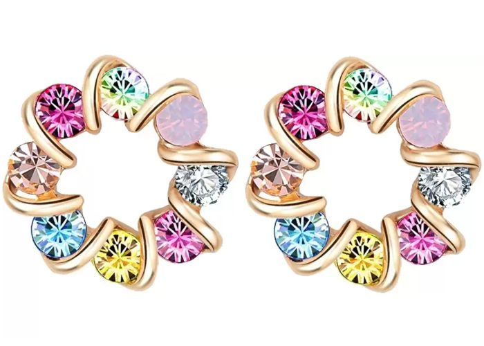 Aaishwarya Swirly Round Multicolor Crystal Alloy Stud Earring