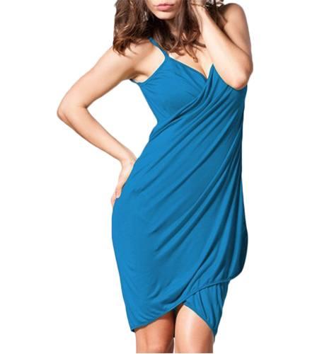 Blue Polyester Spandex Rayon Sarong