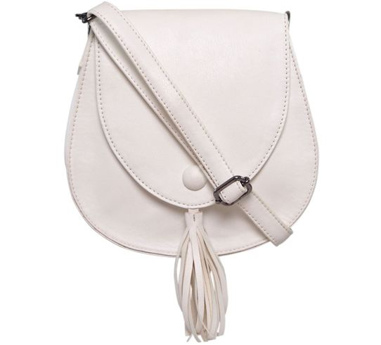 Flying Berry White Faux Leather Sling Bag