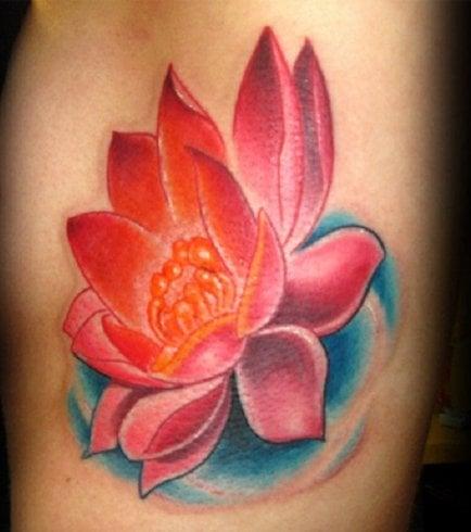 Heart lotus or the red lotus tattoos