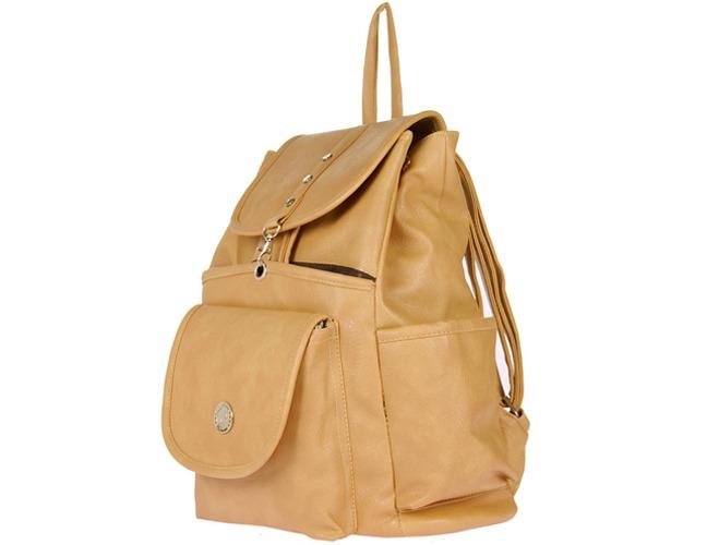 JG Shoppe Men & Women Beige PU Backpack