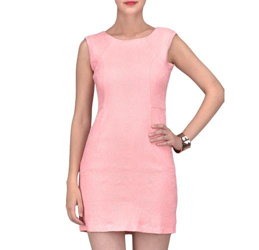 Light Pink Sleeveless Cotton Lycra Dress