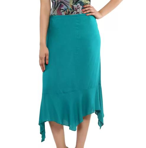 Majori Solid Womens Asymetric Blue Skirt