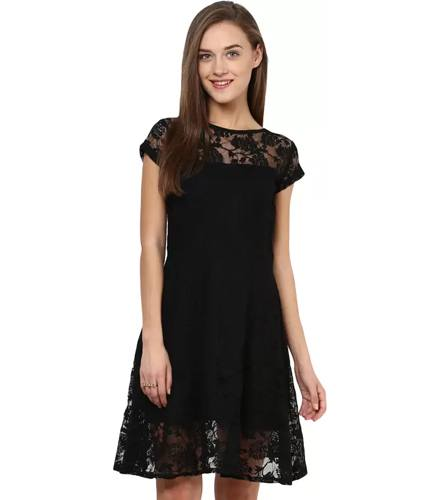 Miss Chase Womens A-line Black Dress