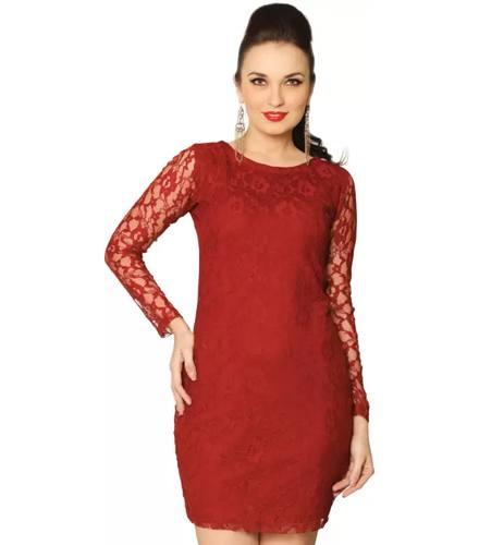Miss Chase Women's Bandage Maroon Dress