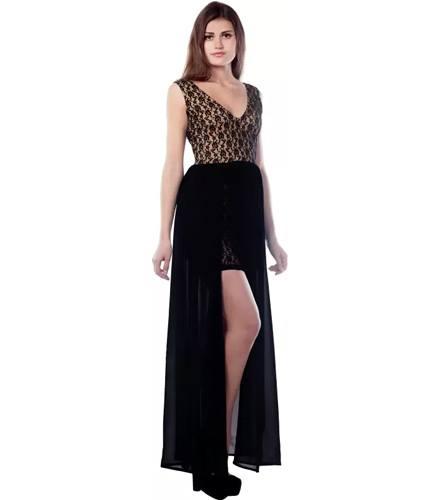 Miss Chase Womens Maxi Black Dress