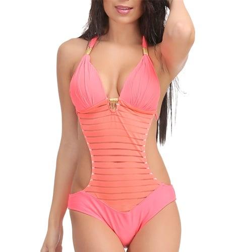 Orange Polyamide Swimwear