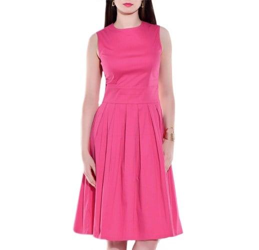 Pink Cotton Lycra Pleated Dress