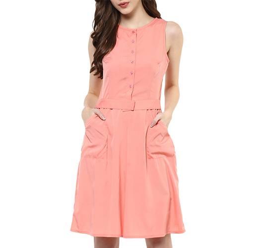 Pink Crepe Fit & Flare Dress