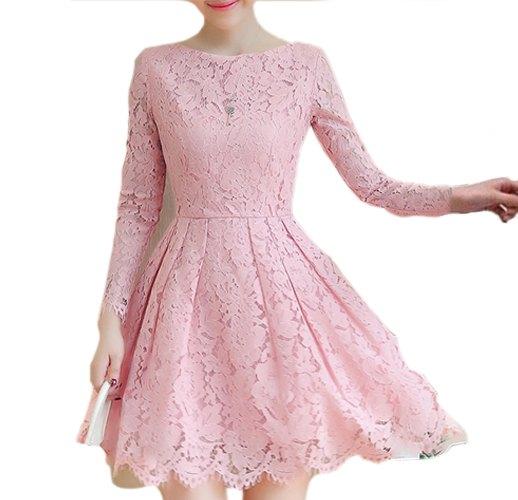 Pink Polyester Dress