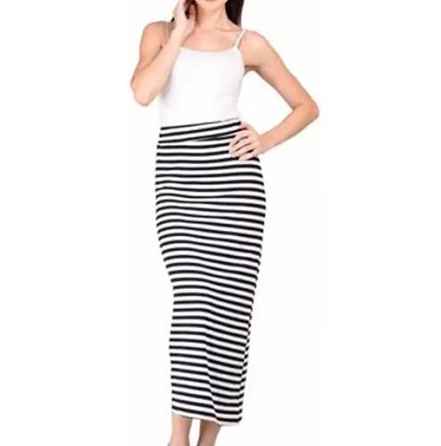 Raabta Fashion Striped Womens Pencil Black White Skirt