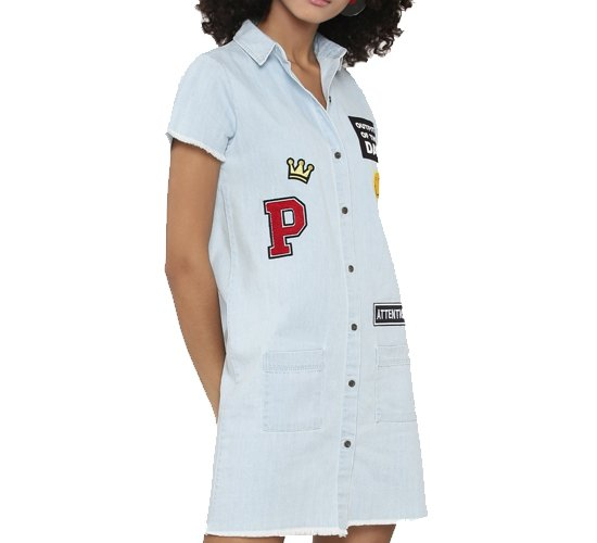 Shirt Dress With Patches