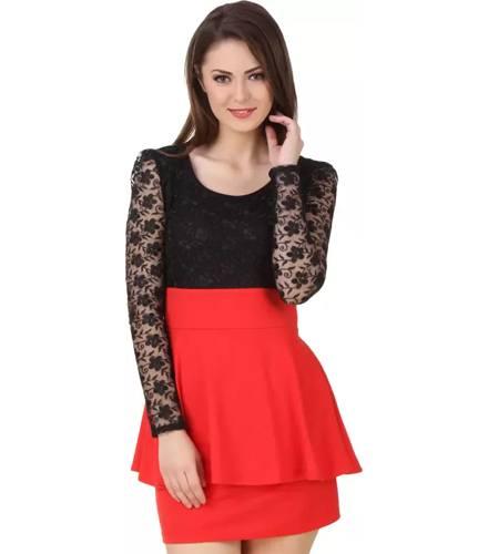 Texco Womens Blouson Red Black Dress