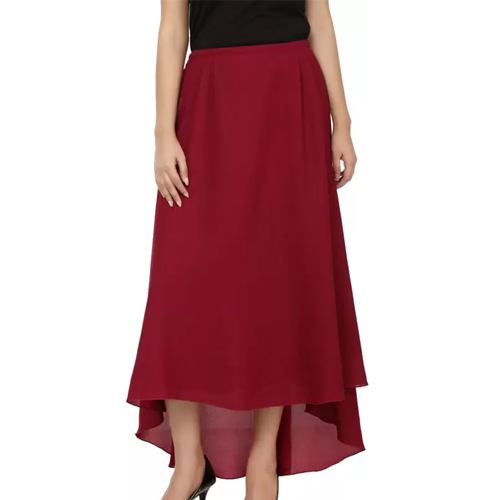Tops and Tunics Solid Womens Asymetric Maroon Skirt