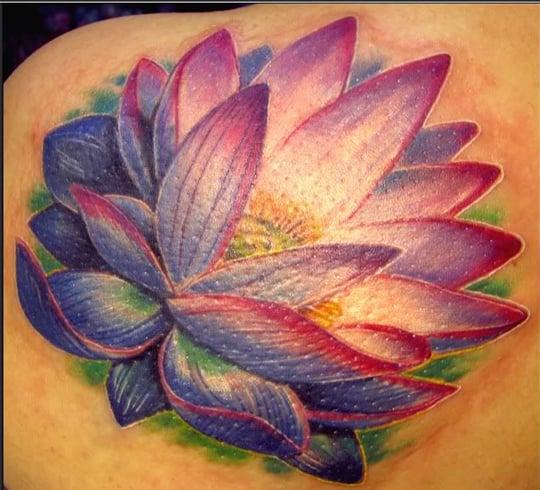 purple with lotus flower tattoo designs