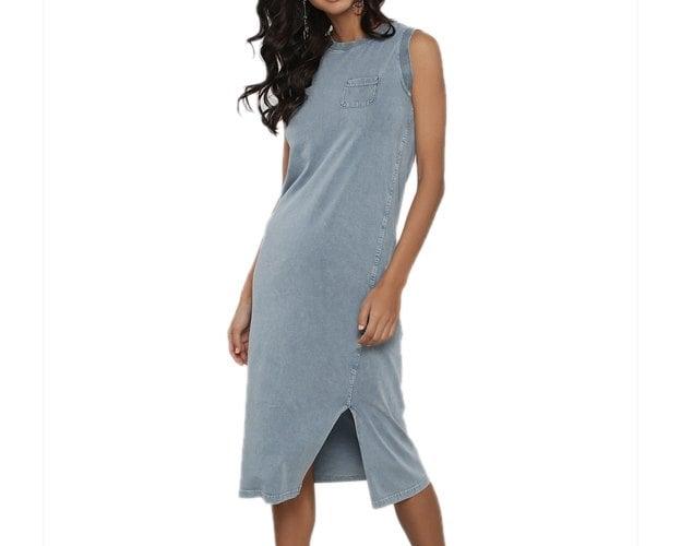 Asymmetric Seam Stretch Denim Dress