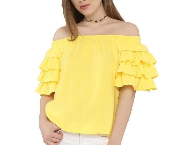 Bardot Ruffle Sleeves Top