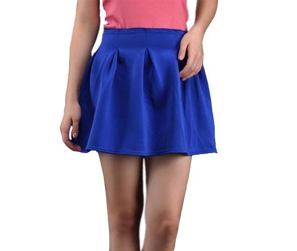Box Pleat Blue Cotton Mini Skirt