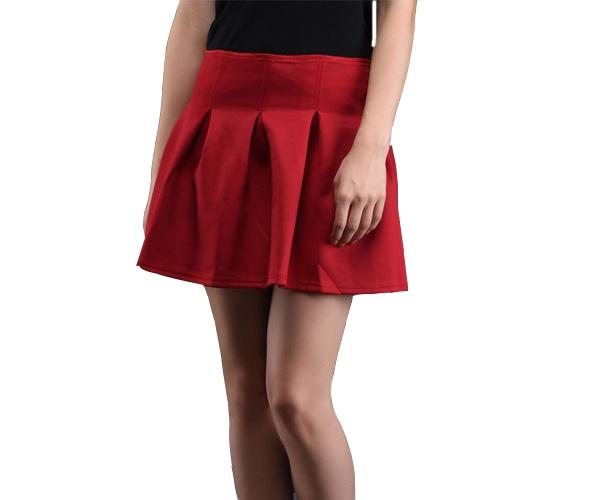 Box Pleat Red Cotton Mini Skirt