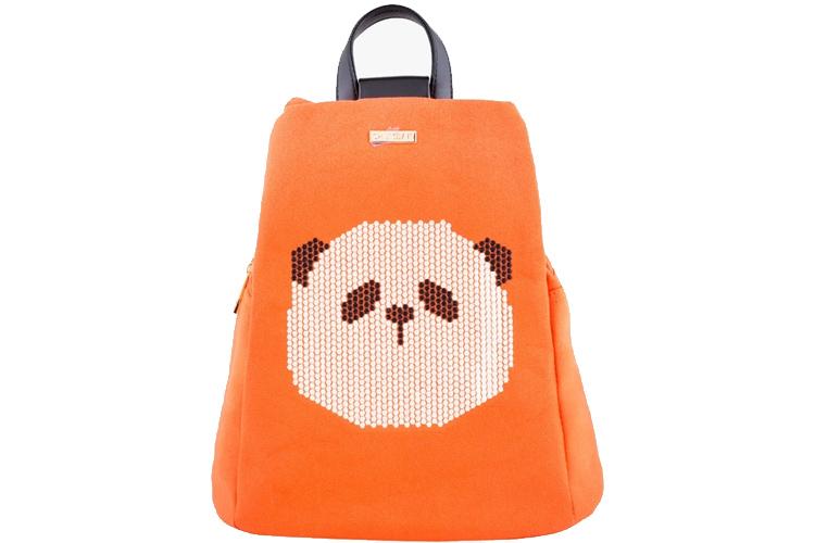 Chumbak Orange Canvas & Leather Backpack