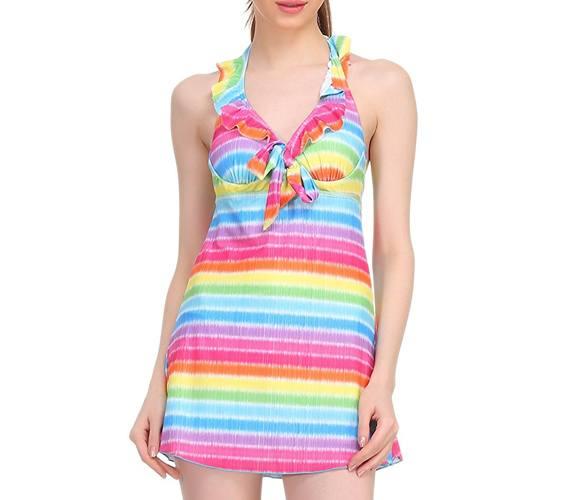 Clovia Women Polyamide Padded Halter Neck Striped Swimsuit In Yellow