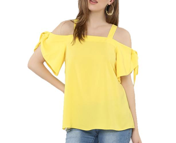 Cold Shoulder Top With Tie-up Detail On Sleeves