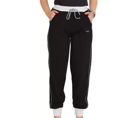 Colors & Blends Solid Women's Black Track Pants