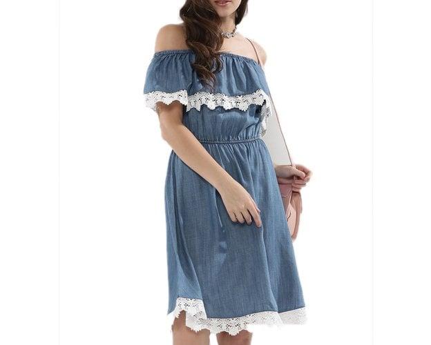 Denim Bardot Dress With Lace Detail