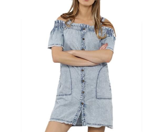 Denim Cold Shoulder Dress With Frayed Edges