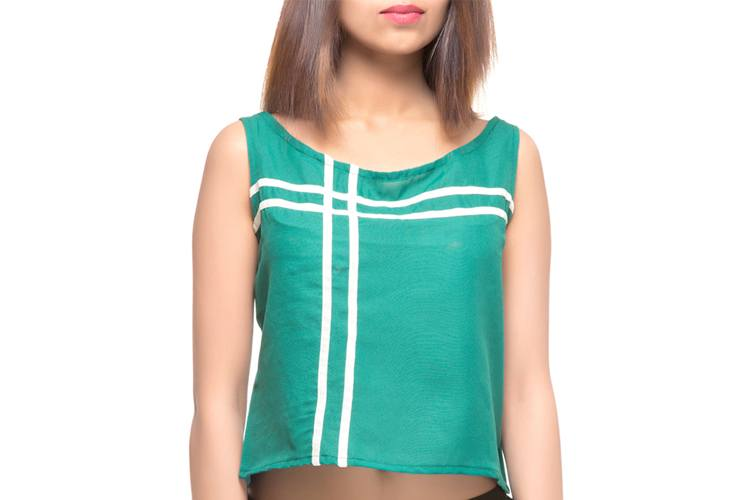 Green Poly Crepe Crop Top