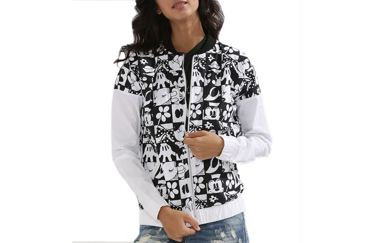 Grid Printed Bomber With Contrast Sleeves And Minnie Slogan Print