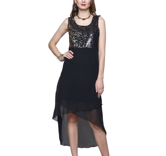 High Low Solid Georgette Womens Dress