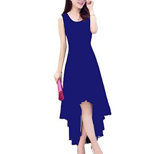 Iande Navy Blue Georgette High Low Dress