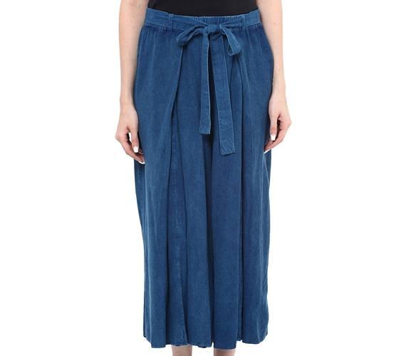 Indigo Wash Cullote With Wide Hem And Waist Belt