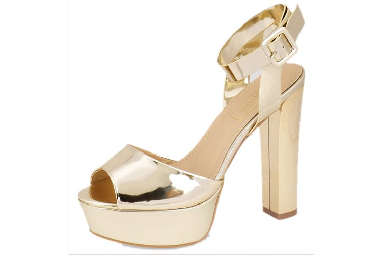 Metallic Block Heeled Sandals