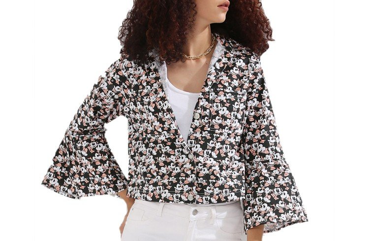 Minnie Print Acid Wash Fluted Sleeve Jacket