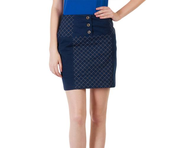 Navy Blue Buttoned Cotton Lycra Skirt