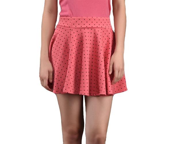 Polka Dot Printed Flared Mini Skirt