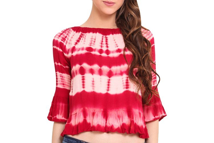 Red And White Tie-Dye Crop Top
