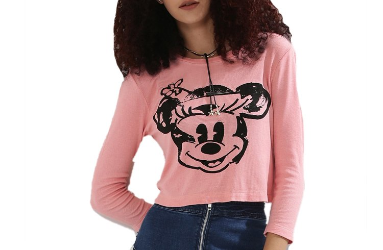 Rib Jersey 34 Sleeve T-Shirt With Minnie Print